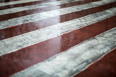 Red and white diagonal road markings for fire trucks. Rainy weather on a city street Royalty Free Stock Photo