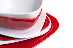 Red and White Dinner Plates Stock Photography