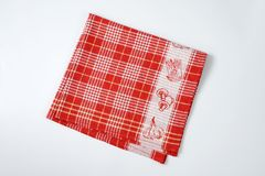 Red and white dishtowel Stock Photo