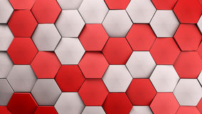 Red and white displaces hexagons background. 3d illustration render Royalty Free Stock Image
