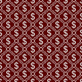 Red and White Dollar Sign Pattern Repeat Background Stock Images