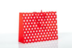 Red with white dot  shopping bag Royalty Free Stock Photography