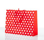 Red with white dot  shopping bag Royalty Free Stock Images