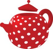 Red with white dots kettle Stock Photography