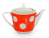 Red with white dots teapot Royalty Free Stock Photography