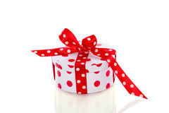 Red white dotted gift Royalty Free Stock Photos