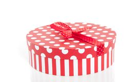 A red white dotted gift box Royalty Free Stock Photography