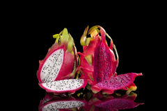 Red and white dragon fruits. Stock Images