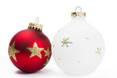 Red and white dull christmas balls Stock Photography