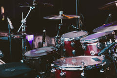 Red and White Dw Drum Set Royalty Free Stock Photo