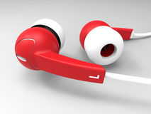 Red and white ear buds Royalty Free Stock Images