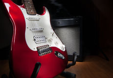 Red and white electric guitar Royalty Free Stock Photo