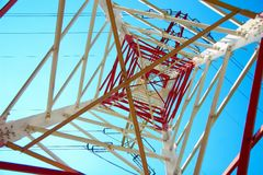 Red and white electricity pylon Stock Image