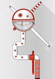 Red and white emoticon - smiling funny face inside circle. Background for text banner, poster, leaflet. Stock Images