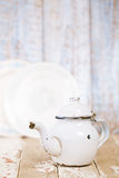 Red and white Enamel Tea Coffee Pots on wood Royalty Free Stock Photos
