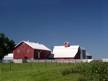 Red and White Farm buildings Stock Photo