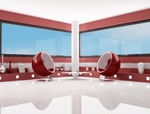 Red and white fashion lounge Royalty Free Stock Image