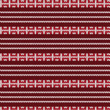 Red and white fence style striped with three white row knitting Stock Image