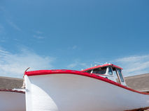 Red and White fishing boat Royalty Free Stock Images