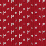 Red and white flag with star knitting pattern background. Vector illustration image Royalty Free Stock Image