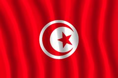 Flag of Tunisia. The red and white flag of Tunisia, adopted as national flag in 1959, has its origins the naval ensign of the Kingdom of Tunis adopted in 1831 by stock illustration