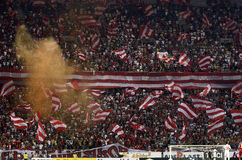 Red and White Flags in Stadium Stock Photo