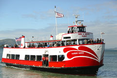 Red and  White Fleet boat docking  at Pier 43 ½ in  Fisherman Wharf, San Francisco Stock Images