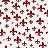 Red and White Fleur-de-lis Pattern Repeat Background Stock Image