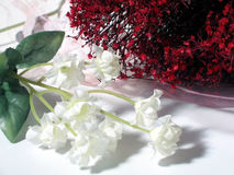 Red & White Floral. Dried, red baby's breath & white silk flowers stock photo