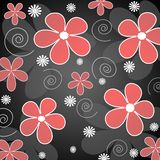 Red and white  flowers. Illustration of retro styled red and white  flowers on black background Royalty Free Stock Images