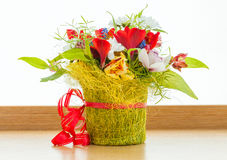 Red and white flowers bunch Stock Photo