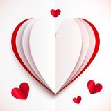 Red and white folded paper vector heart Stock Image