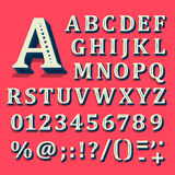 Red and white font on black background. The alphabet contains letters. Vector vector illustration