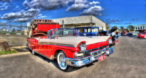 Red and white Ford Fairlane Skyliner convertible Stock Photo