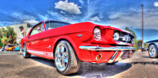 Red and white Ford Mustang Stock Photos