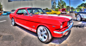 Red and white Ford Mustang Royalty Free Stock Photography
