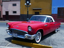Red and white Ford Thuderbird Coupe in a Lima show Royalty Free Stock Photos