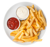Red and white french fries chips Royalty Free Stock Image