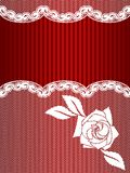 Red and white French lace background Royalty Free Stock Photos