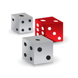 Red and white gamble dices. Illustration design over white Royalty Free Stock Images