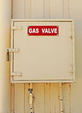 Red and white Gas Valve sign Stock Images