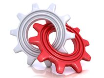 Red and white gears. Together. Concept of unique Stock Images
