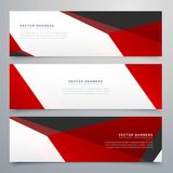 Red and white geometric banners set design Royalty Free Stock Photos