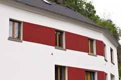 Red and white German house Moselkern, Germany royalty free stock photography