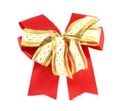 Red and white gift bow. On white background Royalty Free Stock Photos
