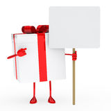 Red white gift box billboard Stock Image