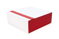 Red and white gift box closed on white with clipping path Royalty Free Stock Photos