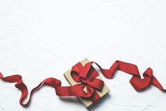 Red and White Gift Box With Ribbon Bow Royalty Free Stock Image