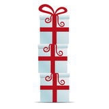 Red white gift box stack Royalty Free Stock Photography