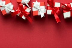 Red and white gift boxes Royalty Free Stock Images
